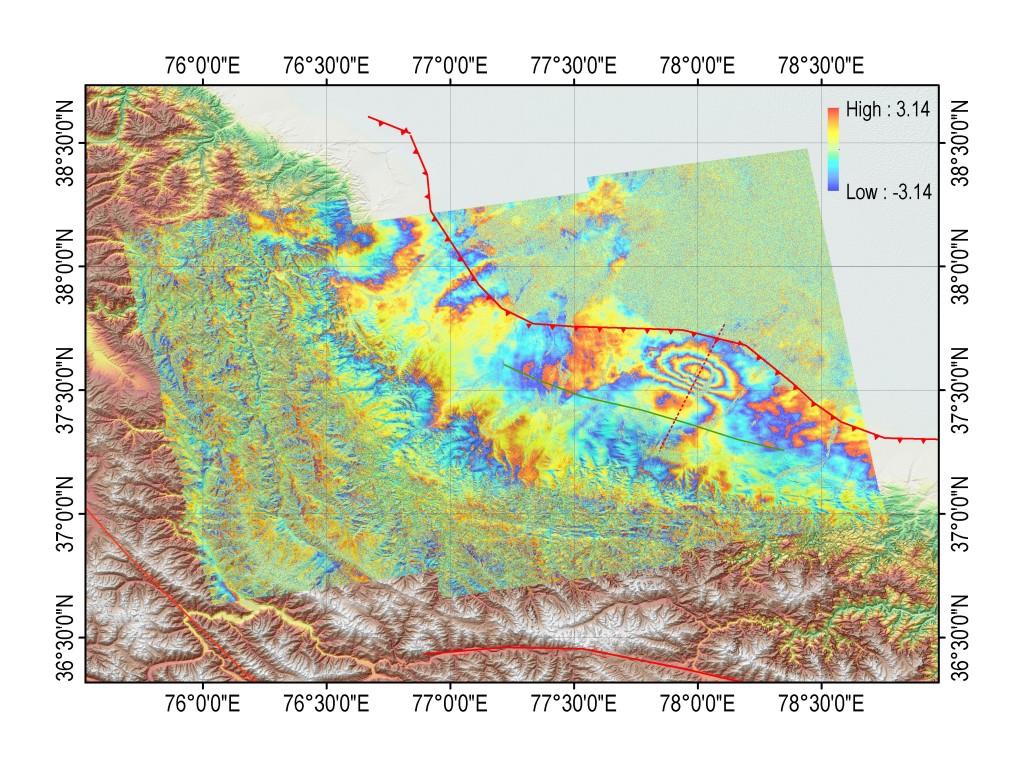 S1 TOPS co-seismic interferogram of the Pishan earthquake
